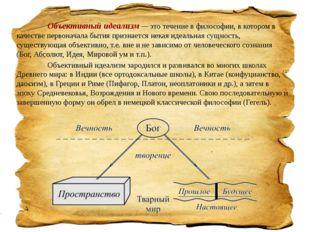 Объективный идеализм — это течение в философии, в котором в качестве перво