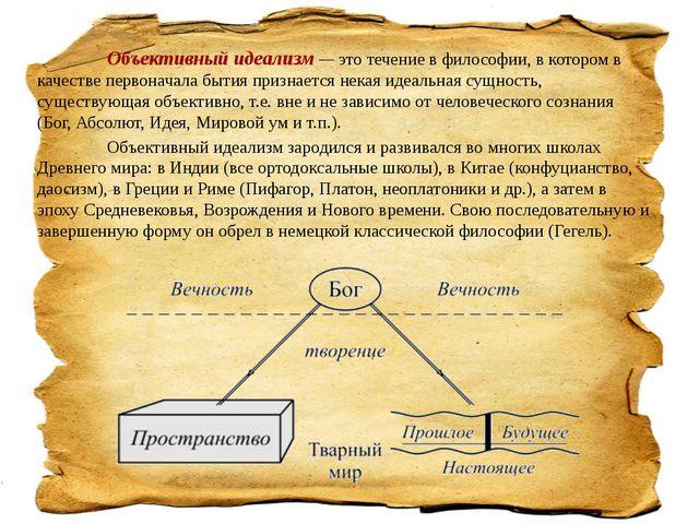 Объективный идеализм — это течение в философии, в котором в качестве перво...