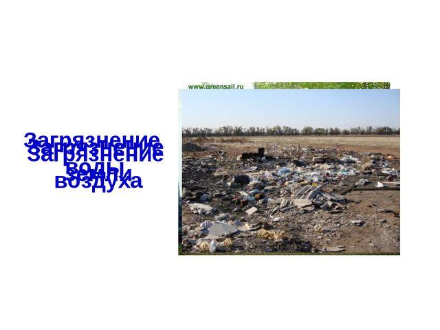 Загрязнение воды Загрязнение воздуха Загрязнение земли