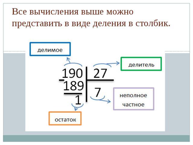 Все вычисления выше можно представить в виде деления в столбик.