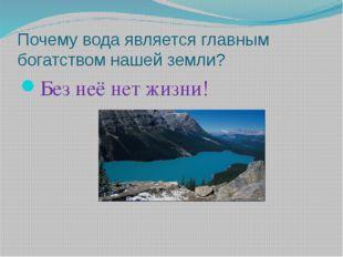 Почему вода является главным богатством нашей земли? Без неё нет жизни!