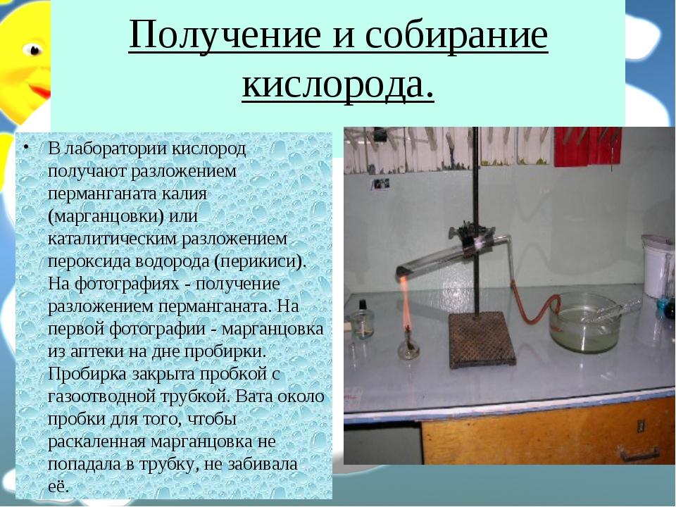 Получение и собирание кислорода. В лаборатории кислород получают разложением...