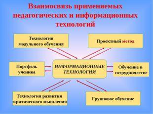 Взаимосвязь применяемых педагогических и информационных технологий Проектный