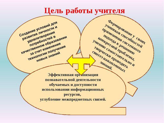 Цель работы учителя Формирование у своих учеников способностей применения сис...
