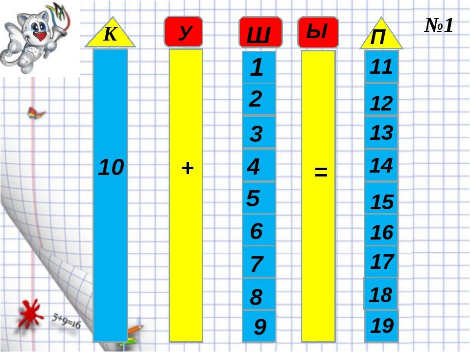 10 + 1 2 3 4 5 6 7 8 9 = 11 12 13 14 15 16 17 18 19 К У Ш Ы П №1
