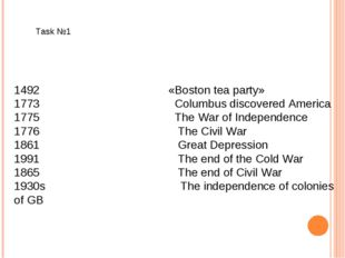 1492 «Boston tea party» 1773 Columbus discovered America 1775 The War of I