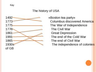 The history of USA   1492 «Boston tea party» 1773 Columbus discovered Americ