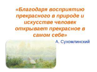 «Благодаря восприятию прекрасного в природе и искусстве человек открывает пр