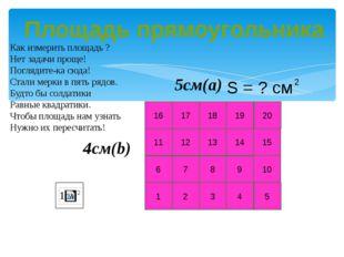 20 10 15 5 1 2 3 4 6 7 8 9 11 12 13 14 16 17 18 19 4см(b) 5см(a) Как измерить