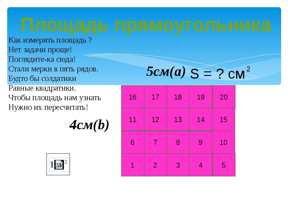 20 10 15 5 1 2 3 4 6 7 8 9 11 12 13 14 16 17 18 19 4см(b) 5см(a) Как измерить...