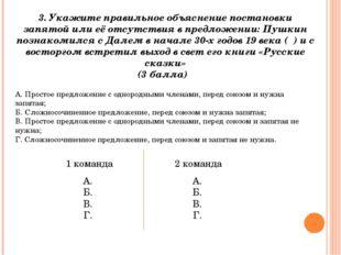 3. Укажите правильное объяснение постановки запятой или её отсутствия в предл