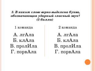 3. В каком слове верно выделена буква, обозначающая ударный гласный звук? (3
