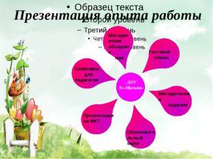 Презентация опыта работы ДОУ №«Малыш» Методические объедине ния Гостевой обм