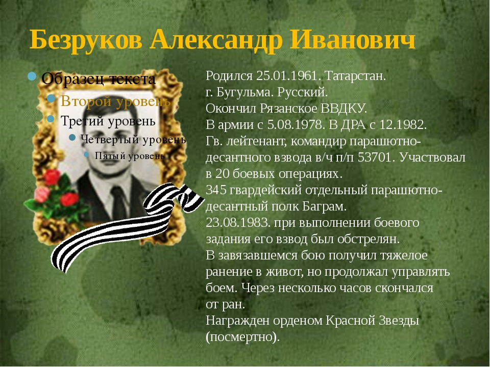 Безруков Александр Иванович Родился 25.01.1961. Татарстан. г. Бугульма. Русск...