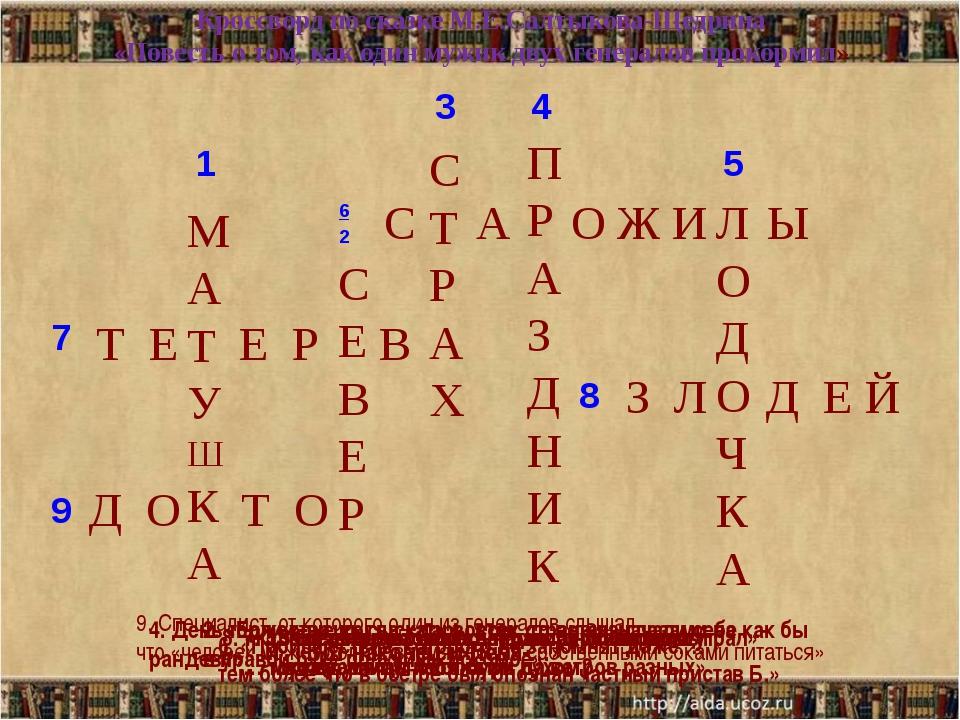 Кроссворд по сказке М.Е.Салтыкова-Щедрина «Повесть о том, как один мужик двух...