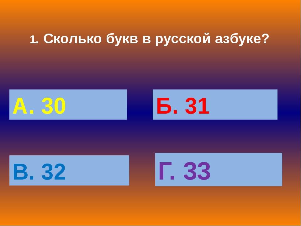 1. Сколько букв в русской азбуке? А. 30 Б. 31 В. 32 Г. 33