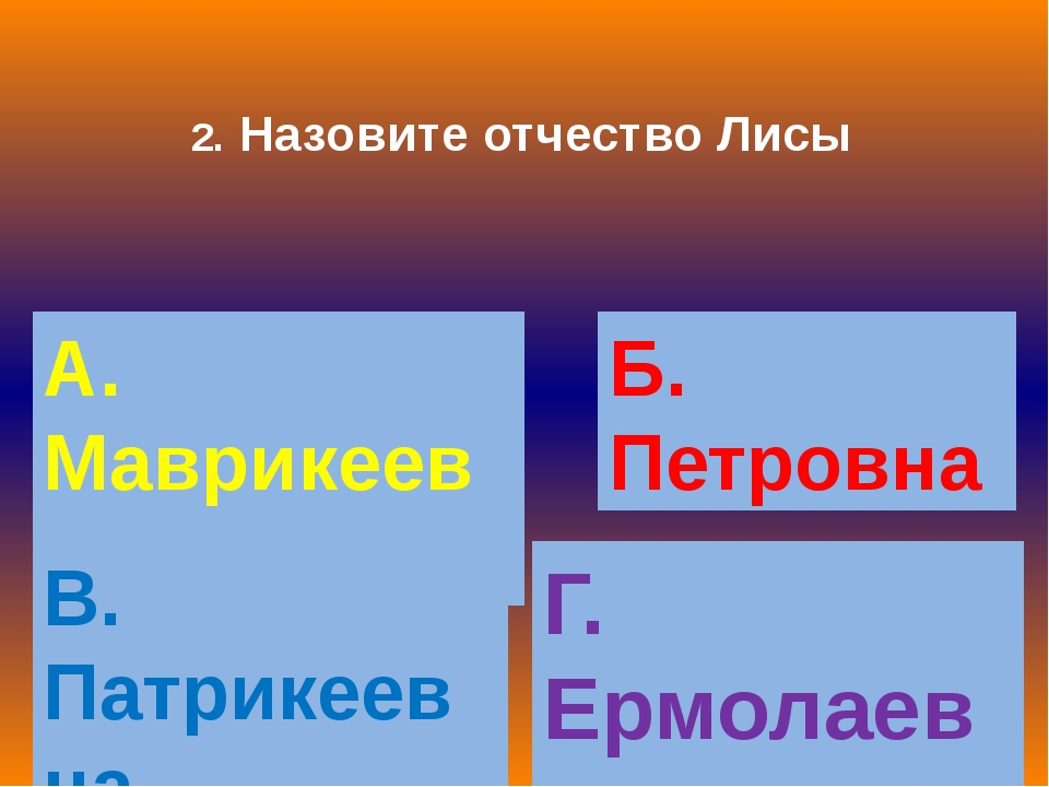 2. Назовите отчество Лисы А. Маврикеевна Б. Петровна В. Патрикеевна Г. Ермола...