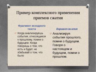 Пример комплексного применения приемов сжатия Фрагмент исходного текста Вариа