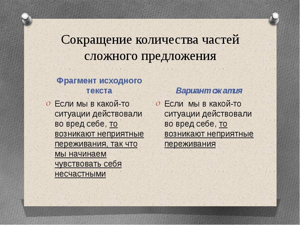 Сокращение количества частей сложного предложения Фрагмент исходного текста В...