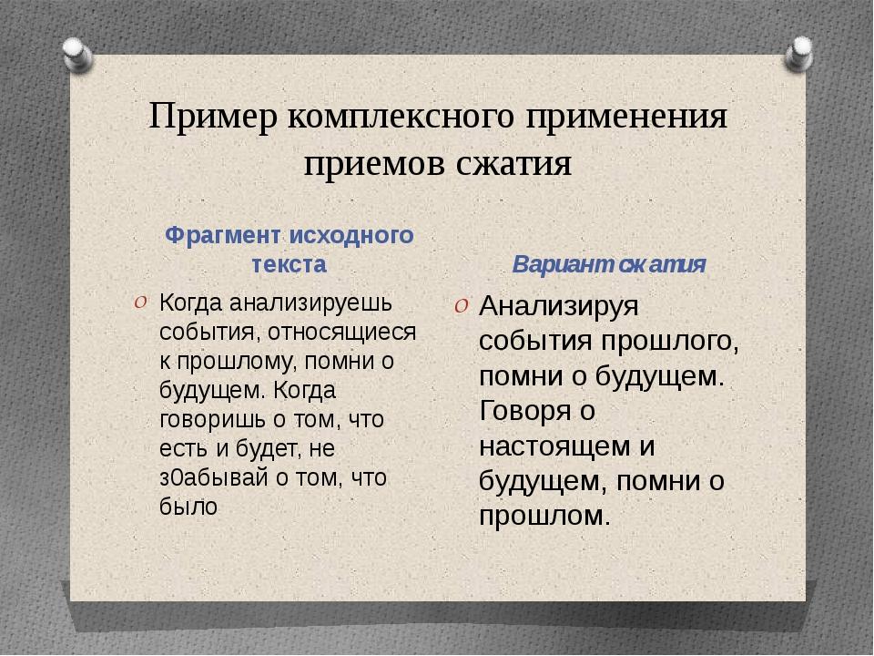 Пример комплексного применения приемов сжатия Фрагмент исходного текста Вариа...