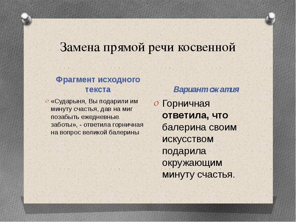 Замена прямой речи косвенной Фрагмент исходного текста Вариант сжатия «Судары...