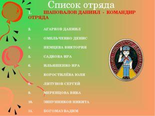 Список отряда 1.ШАПОВАЛОВ ДАНИИЛ - КОМАНДИР ОТРЯДА 2.АГАРКОВ ДАНИИЛ 3.ОМЕЛ