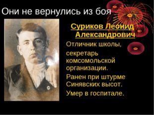 Они не вернулись из боя Суриков Леонид Александрович Отличник школы, секрет