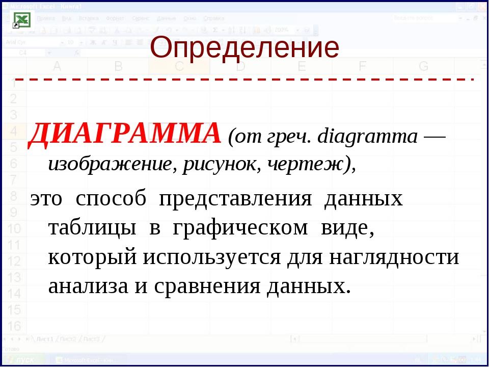 Определение ДИАГРАММА (от греч. diagramma — изображение, рисунок, чертеж), эт...