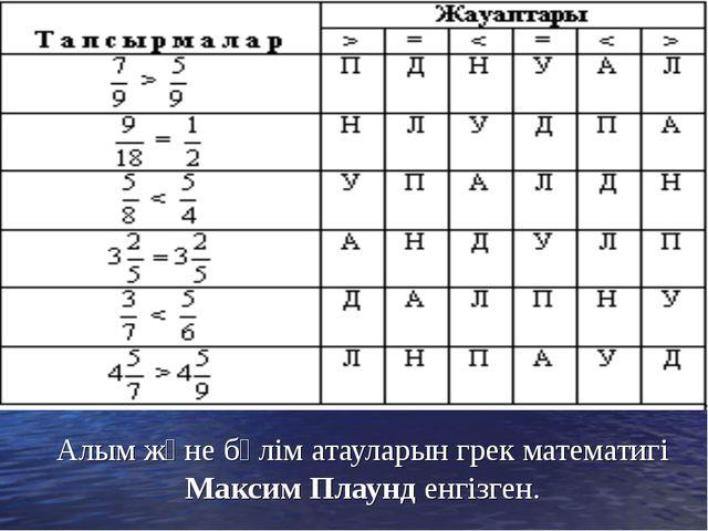 Алым және бөлім атауларын грек математигі Максим Плаунд енгізген.