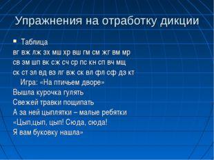 Упражнения на отработку дикции Таблица вг вж лж зх мш хр вш гм см жг вм мр св