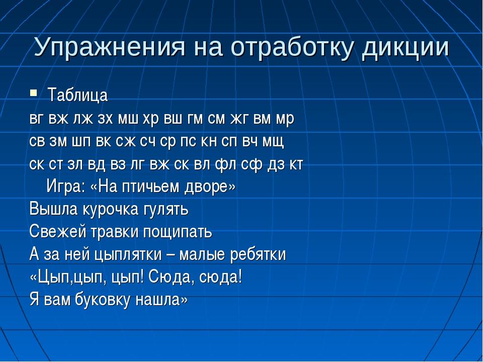 Упражнения на отработку дикции Таблица вг вж лж зх мш хр вш гм см жг вм мр св...