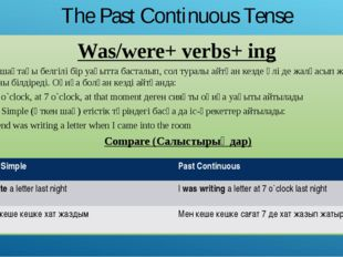 The Past Continuous Tense Was/were+ verbs+ ing Өткен шақтағы белгілі бір уақы