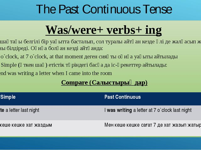 The Past Continuous Tense Was/were+ verbs+ ing Өткен шақтағы белгілі бір уақы...