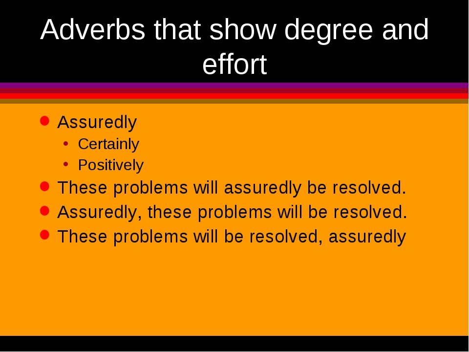 Adverbs that show degree and effort Assuredly Certainly Positively These prob...