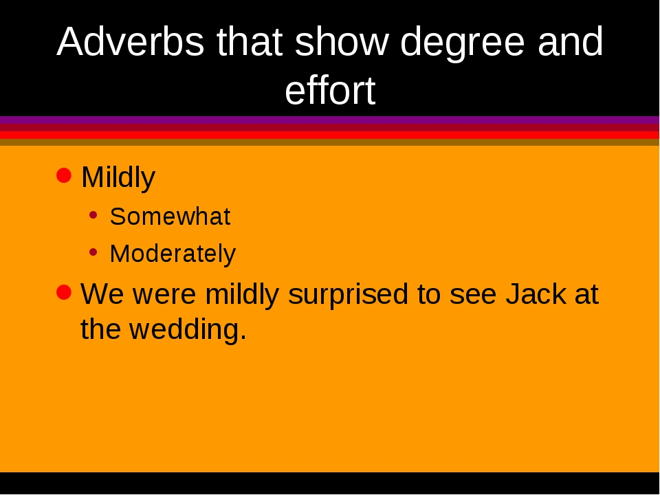 Adverbs that show degree and effort Mildly Somewhat Moderately We were mildly...