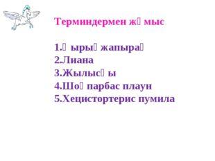 Терминдермен жұмыс 1.Қырықжапырақ 2.Лиана 3.Жылысқы 4.Шоқпарбас плаун 5.Хецис