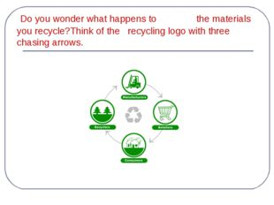 Do you wonder what happens to the materials you recycle?Think of the recycli