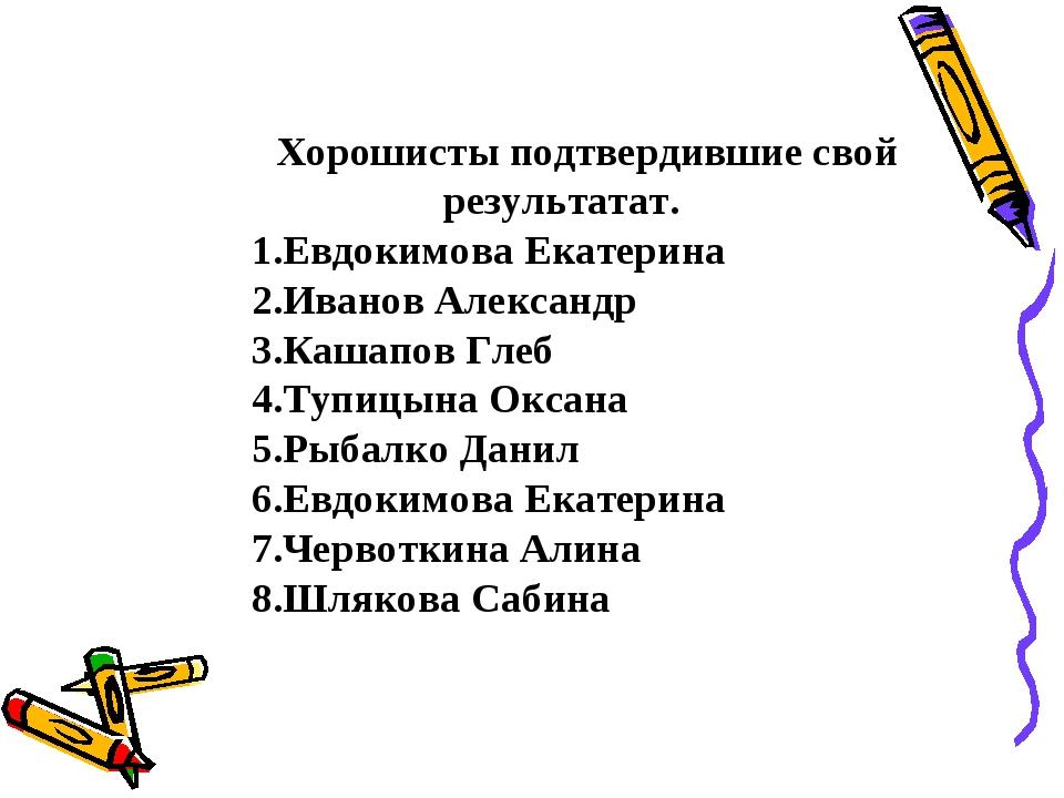 Хорошисты подтвердившие свой результатат. Евдокимова Екатерина Иванов Алексан...