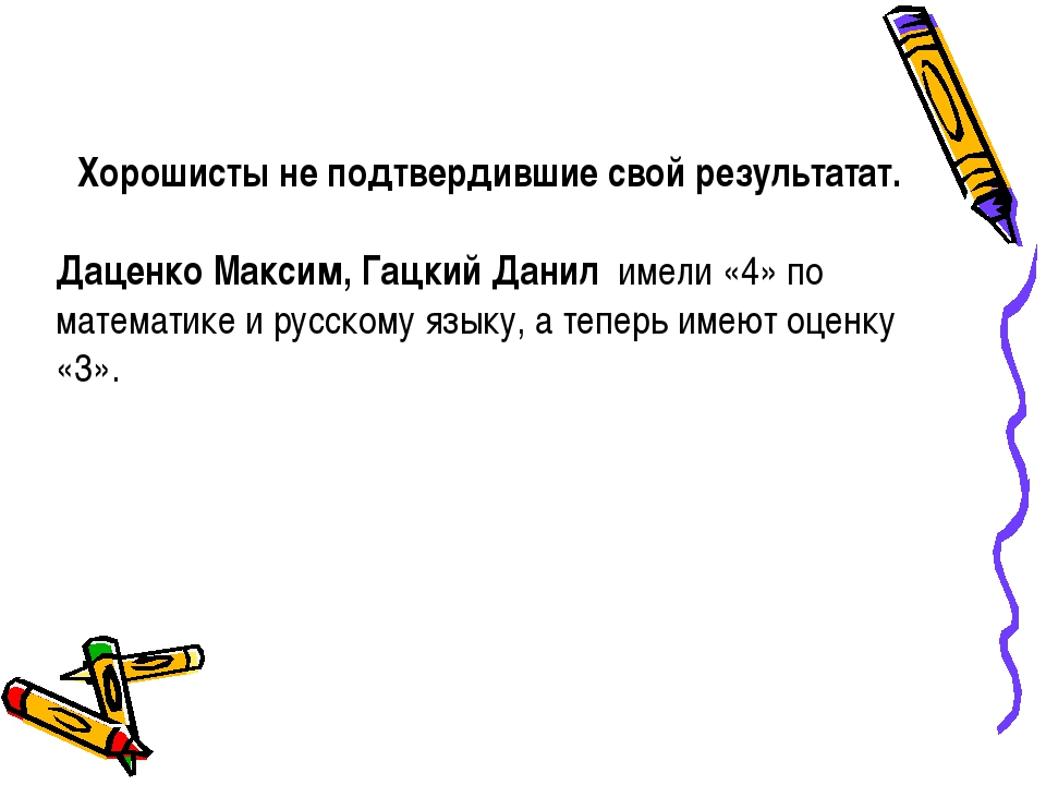 Хорошисты не подтвердившие свой результатат.  Даценко Максим, Гацкий Данил и...