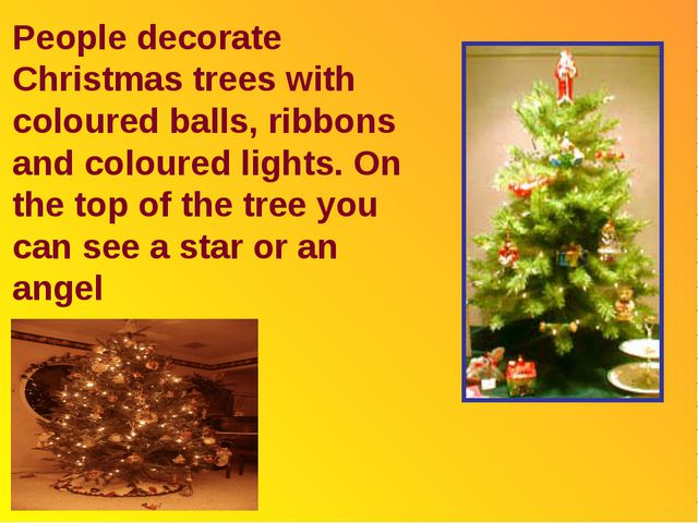 People decorate Christmas trees with coloured balls, ribbons and coloured lig...