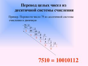 Перевод целых чисел из десятичной системы счисления Пример. Перевести число 7