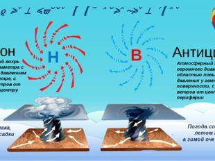 Воздушные массы и их основные типы Н В Циклон Антициклон Атмосферный вихрь ог