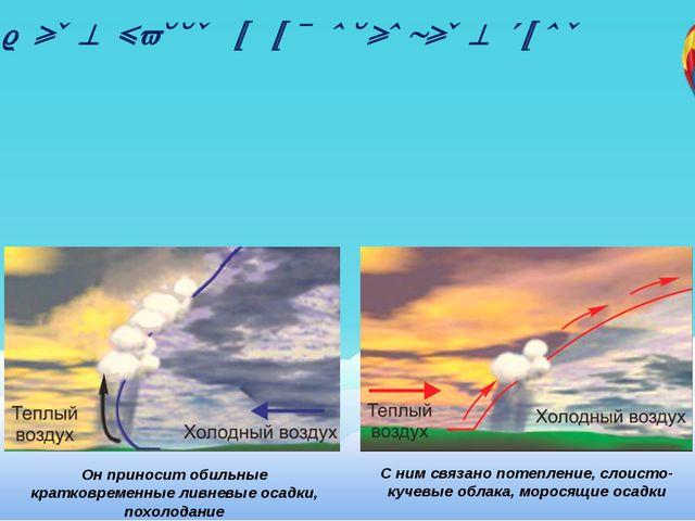 Воздушные массы и их основные типы С ним связано потепление, слоисто-кучевые...
