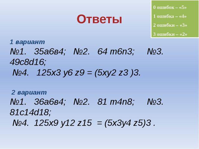 Ответы 0 ошибок – «5» 1 ошибка – «4» 2 ошибки – «3» 3 ошибки – «2» 1 вариант...
