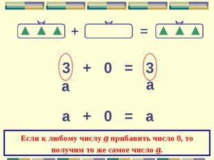 3 + 0 = 3 а а а + 0 = а Если к любому числу а прибавить число 0, то получим т