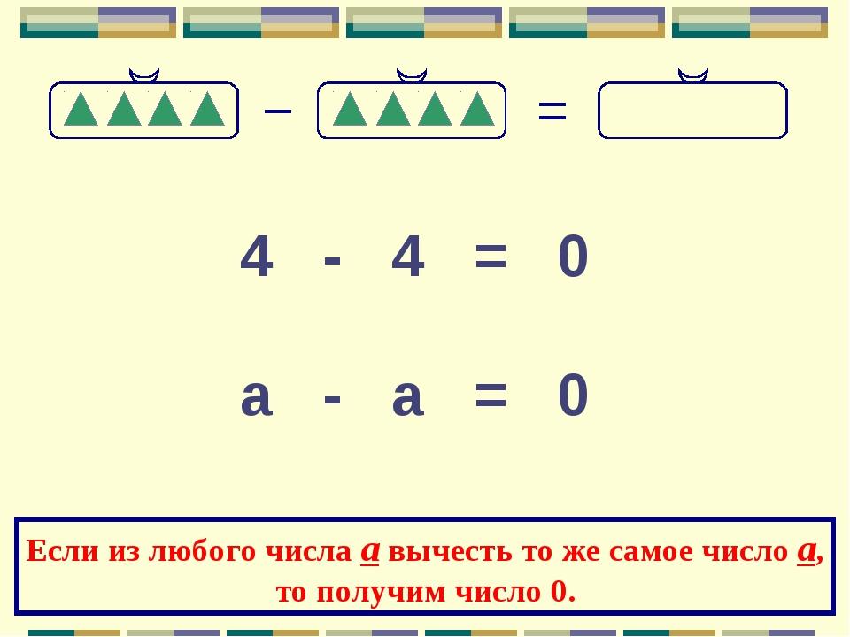4 - 4 = 0 а - а = 0 Если из любого числа а вычесть то же самое число а, то по...