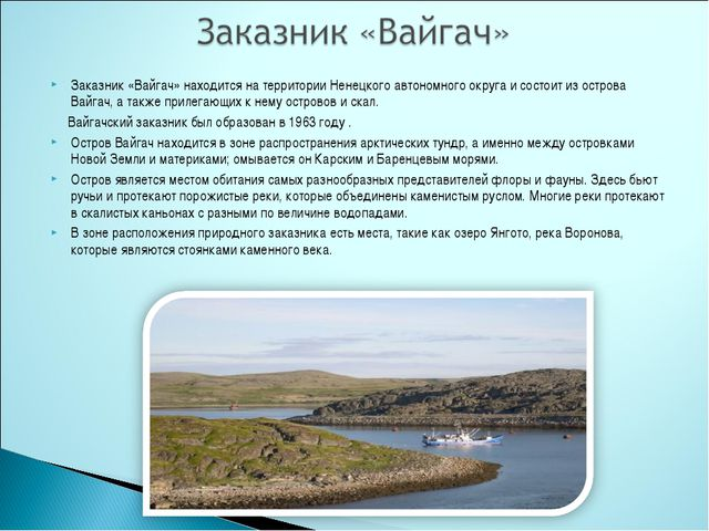 Заказник «Вайгач» находится на территории Ненецкого автономного округа и сост...