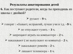 Результаты анкетирования детей 6. Как поступают родители, когда ты приходишь