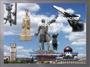 Литературные места Воронежа Презентация выполнена уч-ся 9 класса Руководитель