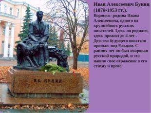 Иван Алексеевич Бунин (1870-1953 гг.). Воронеж- родина Ивана Алексеевича, одн